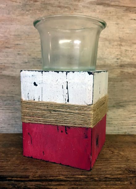 Nautical wood  Tea Light Holder - Red & White
